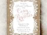 Cheap Vintage Bridal Shower Invitations Burlap Lace Bridal Shower Invitation Coral Bridal Shower