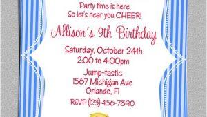 Cheerleading Birthday Party Invitations Custom Cheer Cheerleading Party Birthday Invitations Diy