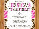 Cheetah Party Invitations Leopard Print Birthday Party Invite Pink Stripes Polka Dots
