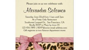 Cheetah Print Bridal Shower Invitations Leopard Print Pink Bow Bridal Shower Invitation