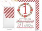 Christmas First Birthday Party Invitations Christmas 1st Birthday Invitation Christmas Birthday