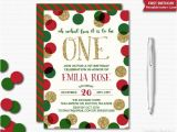 Christmas First Birthday Party Invitations Holiday Birthday Invitation Red Green Gold Glitter First