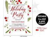 Christmas Party Invitation Template Editable Holiday Party Invitations Instant Download Editable Holiday