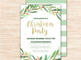 Christmas Party Invitation Template Holly Wreath Printable Christmas Party Invitation Template