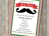 Christmas themed Baby Shower Invitations Christmas themed Red and Green Mustache Baby Shower