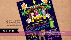 Church Christmas Party Invitation Manger Kid 39 S Church Christmas Party Personalized by Honeybops