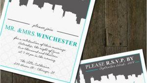 Cityscape Wedding Invitations Destination Wedding Invitation Cityscape Wedding