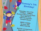 Climbing Wall Party Invitations Rock Wall Climbing Birthday Party Invitation
