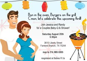 Co Ed Baby Shower Invitation Wording Retro Coed Baby Bbq Shower Invitation
