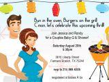 Coed Baby Shower Invite Wording Retro Coed Baby Bbq Shower Invitation