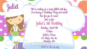 Cooking Party Invitation Template Free Cooking Party Invitation Baking Birthday Invitations