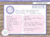 Cooking Party Invitation Template Free Cooking Recipe Card Invitations Template Birthday Party
