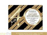 Cool 40th Birthday Invitations Unique 40th Birthday Invitation Black Gold Glitter