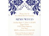 Coral and Navy Bridal Shower Invitations Damask Navy Blue Coral Wedding Bridal Shower 5×7 Paper