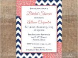 Coral and Navy Bridal Shower Invitations Navy & Coral Bridal Shower Invitation Printable Navy Blue