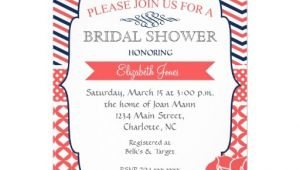 """Coral and Navy Bridal Shower Invitations Navy and Coral Vintage Bridal Shower Invitation 5"""" X 7"""