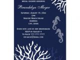 "Coral and Navy Bridal Shower Invitations Navy Coral Reef Seahorse Bridal Shower Invitations 4 5"" X"