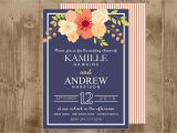 Coral and Navy Bridal Shower Invitations Printable Wedding Bridal Shower Invitation In Navy and