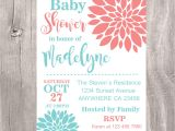 Coral and Teal Baby Shower Invitations Baby Shower Invitation Coral and Teal Baby Shower Invite