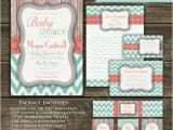 Coral and Teal Baby Shower Invitations Chevron Baby Shower Invitation Coral Teal Gray by