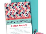 Coral and Teal Baby Shower Invitations Coral and Teal Pattern Baby Shower Invitations Digital File
