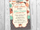 Coral and Teal Baby Shower Invitations Coral and Teal Poppies Baby Shower Invitation by
