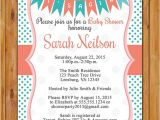 Coral and Teal Baby Shower Invitations Coral Teal Baby Shower Invitation Polka Dots Pennant Bunting
