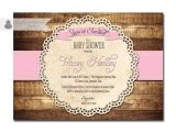 Country Style Baby Shower Invitations Rustic Baby Shower Invitation Baby Pink Wood Lace Baby Shower