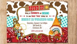 Cowboy and Indian Party Invitations Cowboys and Indians Vintage Inspired Invitation You Print