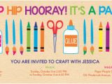 Craft Party Invitation Template Online Back to School Party for Children Invitations Evite
