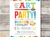 Craft Party Invitation Template Printable Art Party Invitation Rainbow Paint Party