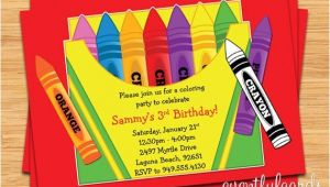 Crayon Birthday Party Invitations Crayon Birthday Party Invitation for Kids