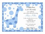 """Cute Baby Shower Invitations for Boys Cute Blue Giraffe Boy Baby Shower Invitation 5"""" X 7"""