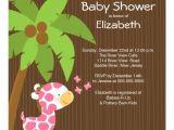 Cutest Girl Baby Shower Invitations Cute Jungle Giraffe Girl Baby Shower Invitations