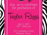 Cvs Graduation Party Invitations Graduation Zebra Hot Pink Party Invitation Girl Birthday