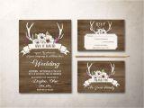 Deer Antler Wedding Invitations Deer Antlers Wedding Invitation Printable Rustic Wedding