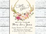 Deer Antler Wedding Invitations Printable Save the Date Deer Antler Wedding by
