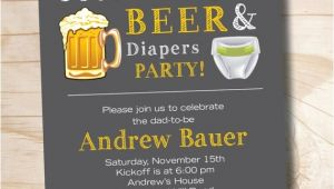 Diaper and Beer Party Invitations Football Beer Diapers Bbq Beer and Babies Diaper Party