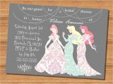 Disney Bridal Shower Invitation Wording Princess Wedding Shower Invitation Disney Princesses