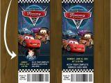Disney Cars Birthday Invitations Tickets Cars 2 Lightning Mc Queen Ticket Invitation Race Car