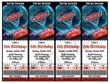 Disney Cars Birthday Invitations Tickets Disney Cars 2 Movie Ticket Invitations Printable Pdf