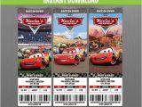 Disney Cars Birthday Invitations Tickets Disney Cars Birthday Ticket Invitations Instant Download