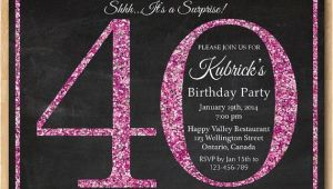 Diy 40th Birthday Invitations 40th Birthday Invitation for Women Pink Glitter Birthday