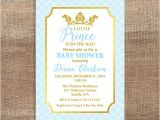Diy Prince Baby Shower Invitations Prince Baby Shower Invitation Light Blue & Gold by