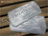 Dog Tag Birthday Invitations Mash Bash theme Party M A S H Air soft Ideas Sweet 16