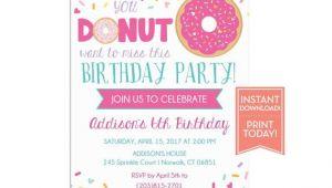 Donut Birthday Invitation Template Donut Party Invitation Template Birthday Printable Girls