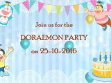 Doraemon Birthday Invitation Template Doraemon theme Whats App Birthday Invitation Dor002