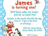 Dr Seuss 1st Birthday Party Invitations Dr Seuss Birthday Invitations Wording