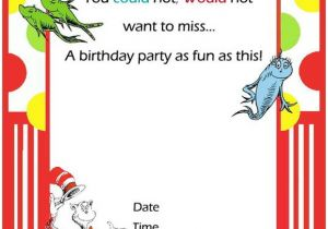 Dr Seuss Birthday Invitation Template Free Printable Dr Seuss First Birthday Invitations Free