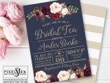 Dusty Blue and Cranberry Wedding Invitations Navy Blue Bridal Tea Invitation Vintage Rose and Peony